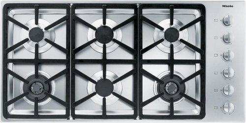 KM 3484 LP Gas cooktop with 2 dual wok burners for particularly versatile cooking convenience.