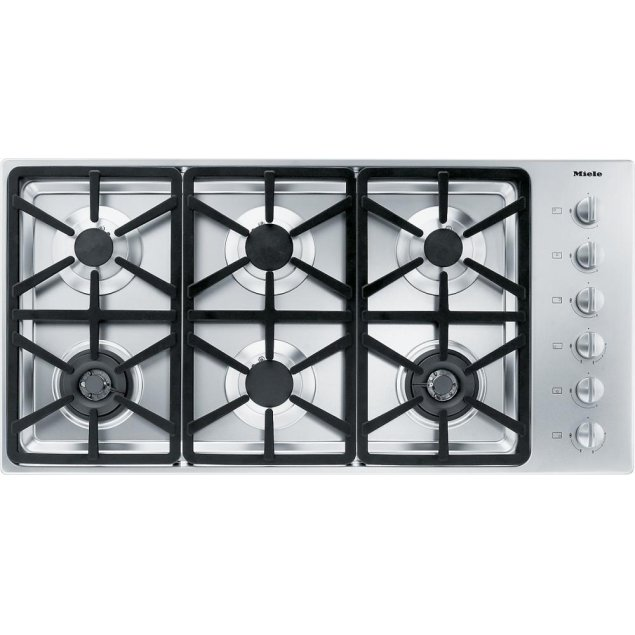 Miele KM 3484 G Gas cooktop with 2 dual wok burners for particularly versatile cooking convenience.