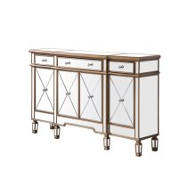 """3 Drawer 4 Door Cabinet L60""""W14""""H36"""" Gold Finish with Clear Mirror"""