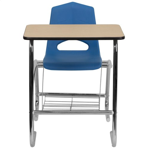 HERCULES Series Student Combo Desk with Blue Shell Chair, Natural Laminate Top and Book Rack