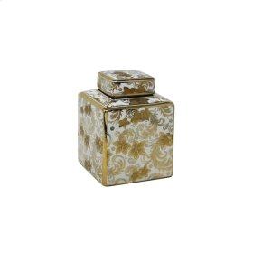 "Square White Jar, Gold Detail, 8"""