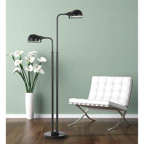 12W X 2 LED Paxton Twin Lightmetal Floor Lamp With Swivel Shades