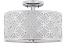 Cecily Leaf Trellis 3 Light 15-inch Dia Chrome Flush Mount - Chrome Shade Color: Off-White