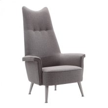Armen Living Danka Chair in Brushed Steel finish with Gray Fabric upholstery