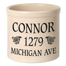 Personalized Pinecone 2 Gallon Stoneware Crock - Black Engraving / Bristol Crock