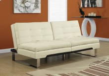 FUTON - SPLIT BACK CLICK CLACK / IVORY LEATHER-LOOK