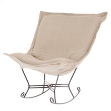 Scroll Puff Rocker Linen Slub Natural Titanium Frame