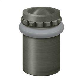 """Round Universal Floor Bumper Pattern Cap 2"""", Solid Brass - Antique Nickel"""
