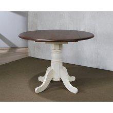 "DLU-ADW4242-AW  3 Piece 42"" Round Drop Leaf Dining Set  Antique White with Chestnut Top  Napoleon Chairs"