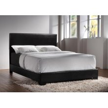 Conner Casual Black Upholstered Queen Bed