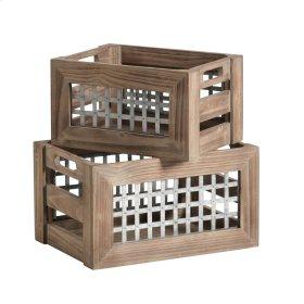 S/2 Wood & Metal Crates, Brown