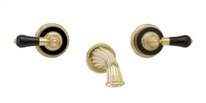 Wall Tub Set Frienze Black Onyx - Polished Gold with Polished Nickel