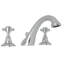Polished Chrome Viaggio 3-Hole Deck Mount C-Spout Tub Filler with Crystal Cross Handle