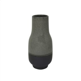 """Ceramic Vase 10.5"""", Gray"""