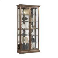 Two Door Windowpane 5 Shelf Curio Cabinet in Ash Brown Product Image