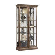 Two Door Windowpane 5 Shelf Curio Cabinet in Ash Brown