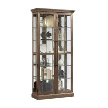 Two Door Windowpane 5 Shelf Curio Cabinet in Ash Brown