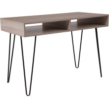 Franklin Oak Wood Grain Finish Computer Table with Black Metal Legs