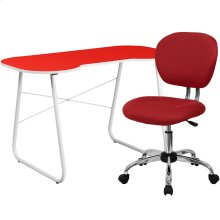 Red Computer Desk and Mesh Chair