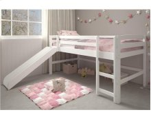 Pine Ridge White Mini Loft With Slide with options: White, Twin