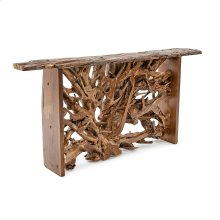 Hand Hewn Teak Console Table With Butternut Sides