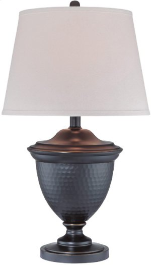 Table Lamp, Dark Bronze/white Fabric Shade, Type A 150w