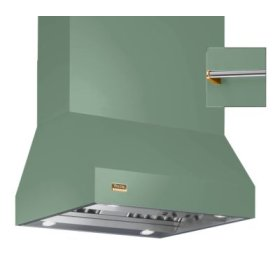 """36"""" Wide Island Hood, Brass Accessory Rail on front, back and both sides"""
