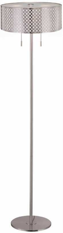 Floor Lamp, Ps/metal Cut-out Shd W/liner, E27 Cfl 13wx2