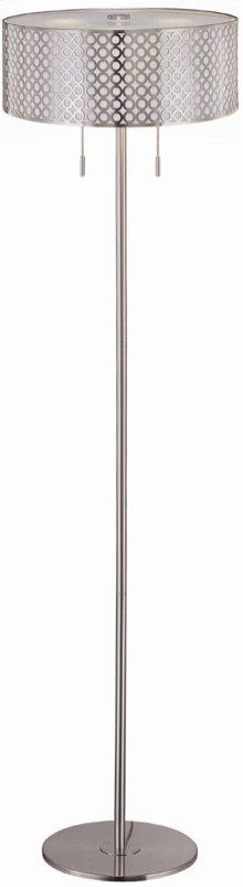 Floor Lamp, Ps/metal Cut-out Shd W/liner, E27 Cfl 13wx2