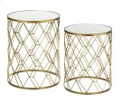 2 pc. set. Gold Diamond Pattern Mirrored Table. (2 pc. set) Product Image