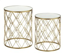 2 pc. set. Gold Diamond Pattern Mirrored Table. (2 pc. set)