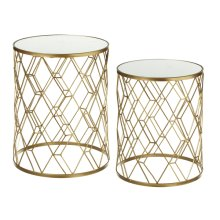 Gold Diamond Pattern Mirrored Table (2 pc. set)