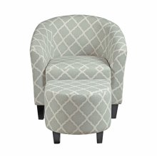 Grey Upholstered Barrel Accent Chair & Ottoman