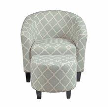 Grey Uph Barrel Accent Chair & Ottoman