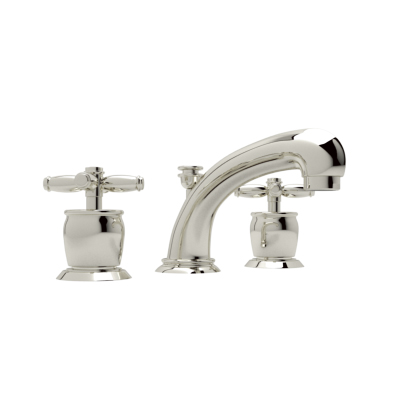 Polished Nickel Michael Berman Zephyr Spout Widespread Lavatory Faucet with Michael Berman Metal Lever