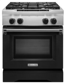 30'' 4-Burner Dual Fuel Freestanding Range, Commercial-Style - Imperial Black