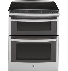 """Clearance Model - One of a Kind - GE Profile™ Series 30"""" Slide-In Front Control Double Oven Electric Convection Range"""