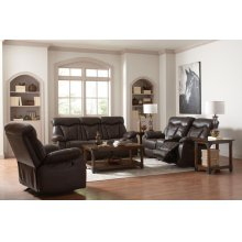 Zimmerman Dark Brown Faux Leather Power Motion Two-piece Living Room Set