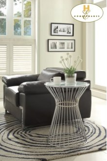 Round End Table, Glass Insert