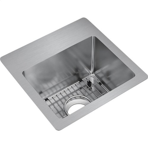 "Elkay Crosstown Stainless Steel 15"" x 15"" x 9"", Single Bowl Dual Mount Sink Kit"