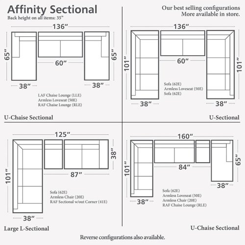 Chaise on Right/Affinity Sand Affinity U-Shaped Sectional