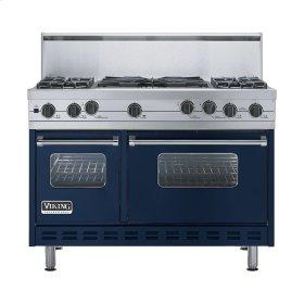 """Viking Blue 48"""" Sealed Burner Self-Cleaning Range - VGSC (48"""" wide, four burners & 24"""" wide wok/cooker)"""