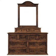"Mirror : 38"" x 5"" x 45"" Dresser 8 Drawer Dresser Medio Finish"