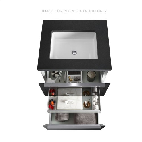 """Adorn II 36-1/4"""" X 34-3/4"""" X 21"""" Double Drawer Vanity In Silver Screen With Slow-close Plumbing Drawer and Full Storage Drawer, Center Mount Sink, Legs In Brushed Aluminum and Night Light"""