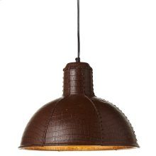 Brown Leather Pendant. 100W Max. Plug-in With Hard Wire Kit Included.