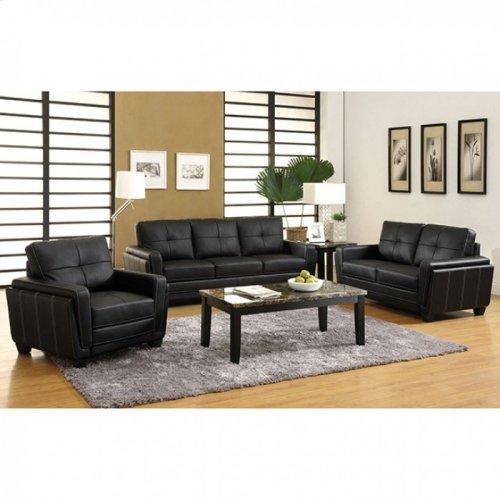 Black Leatherette Sofa and Love Seat Set