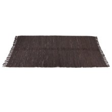 Brown & Black Leather Chindi 5'x8' Rug (Each One Will Vary).