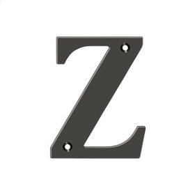 """4"""" Residential Letter Z - Oil-rubbed Bronze"""