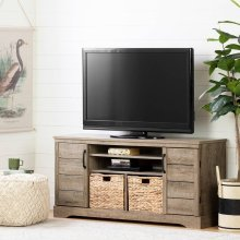 Tv Stand with Baskets for TVs up to 65\ - Weathered Oak