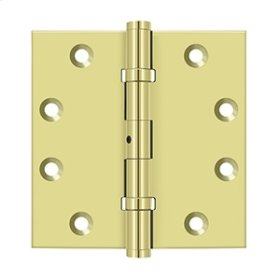 """4 1/2""""x 4 1/2"""" Square Hinges, Ball Bearings - Polished Brass"""